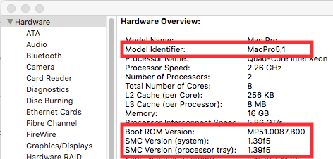 System Report shows Model Identifier MacPro5,1 despite it being a MacPro4,1.